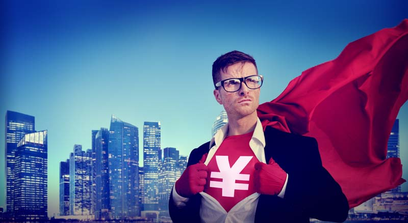 Yen Sign Strong Superhero Success Professional Empowerment Stock Concept